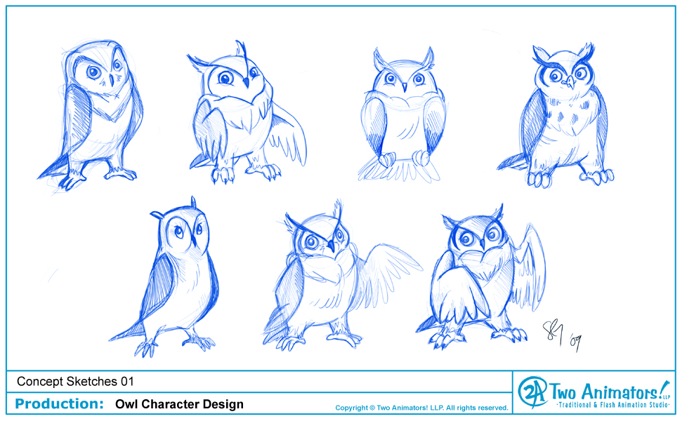 Character Design Outline : Owl drawing outline