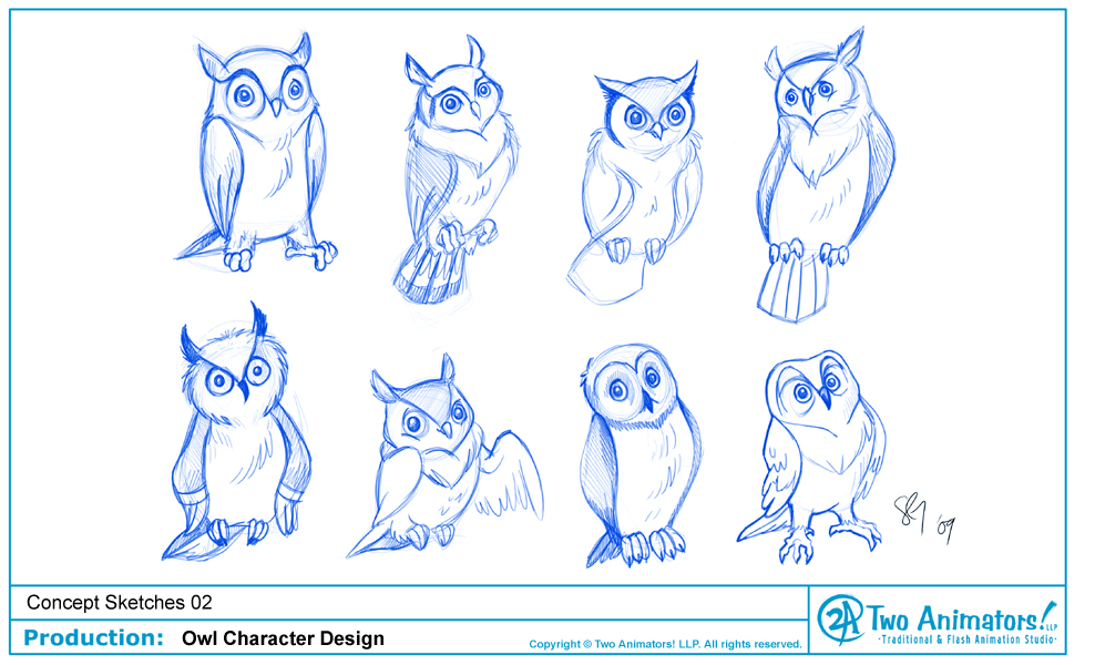 Owl drawing cartoon for Draw an owl in two steps